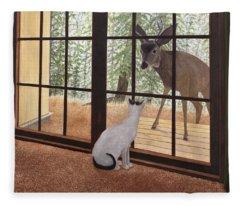 Cat Meets Deer Fleece Blanket