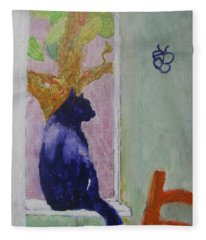cat named Seamus Fleece Blanket