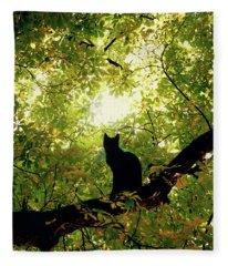 Cat On A Tree Fleece Blanket