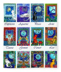Cat Zodiac Astrological Signs Fleece Blanket