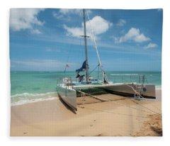 Catamaran On Waikiki Fleece Blanket