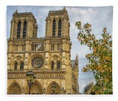 Cathedral Notre-dame De Paris Fleece Blanket
