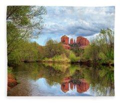 Cathedral Rock Reflection Fleece Blanket