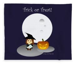 Cathy And The Cat Enjoy Halloween #3 Fleece Blanket
