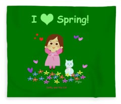 Cathy And The Cat I Love Spring Fleece Blanket
