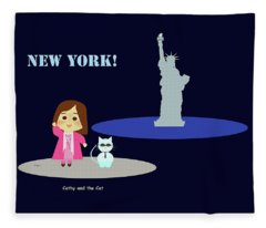 Cathy And The Cat In New York Fleece Blanket