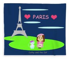 Cathy And The Cat In Paris Fleece Blanket