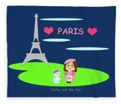 Cathy And The Cat In Paris Fleece Blanket