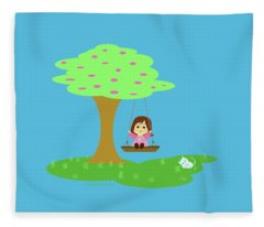 Cathy And The Cat Play In The Swing Fleece Blanket