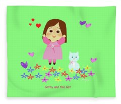 Cathy And The Cat Spring Is Coming Fleece Blanket
