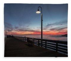 Cayucos Pier Sunset Fleece Blanket