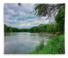 Fleece Blanket featuring the photograph Cedar Bend Iowa by Dan Miller