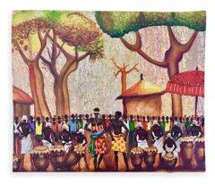 Celebration Drumming - Red Fleece Blanket