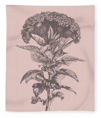 Celosia Blush Pink Flower Fleece Blanket