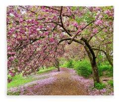 Central Park Cherry Blossoms Fleece Blanket