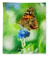 Chalky Painted Lady Butterfly Fleece Blanket