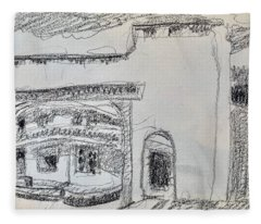 Charcoal Pencil Arch.jpg Fleece Blanket