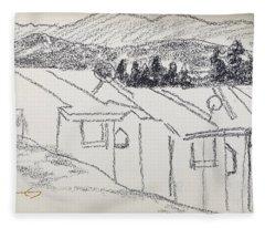 Charcoal Pencil Houses1.jpg Fleece Blanket