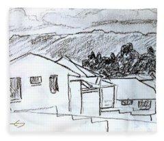 Charcoal Pencil Houses.jpg Fleece Blanket