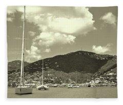 Charlotte Amalie Harbor In Sepia Fleece Blanket