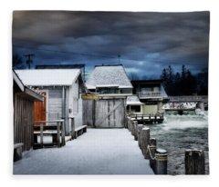 Charming Fishtown Michigan Fleece Blanket