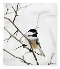 Charming Winter Chickadee Fleece Blanket