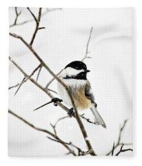 Charming Winter Chickadee Fleece Blanket