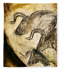 Chauvet - Three Aurochs Fleece Blanket