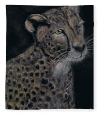 Cheetah Portrait In Pastels Fleece Blanket