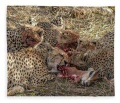 Cheetahs And Grant's Gazelle Fleece Blanket