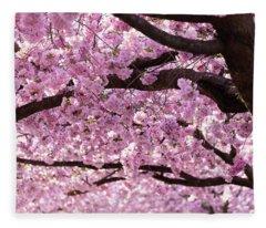 Cherry Blossom Trees Fleece Blanket