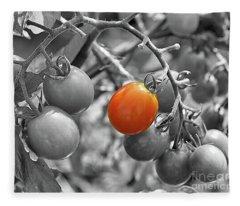Cherry Tomatoes Partial Color Fleece Blanket