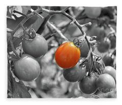 Cherry Tomatoes Partial Color Fleece Blanket
