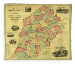 Chester County Pennsylvania Map 1856 Fleece Blanket