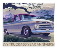 Chevy Truck Centennial 1964 Shortbed Custom Half Ton Fleece Blanket