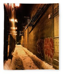 Chicago Alleyway At Night Fleece Blanket
