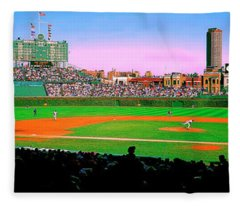 Chicago Cubs Wrigley Field  Third And Home   Fleece Blanket