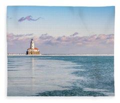 Chicago Harbor Light Landscape Fleece Blanket
