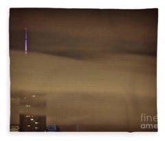 Chicago In Fog Fleece Blanket