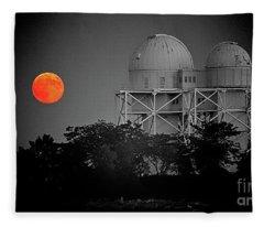 Chicago Northwestern University Observitory With Moon  Fleece Blanket