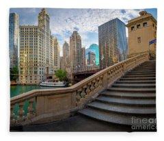 Chicago Riverwalk  Fleece Blanket