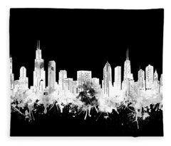 Chicago Skyline Black And White 2 Fleece Blanket