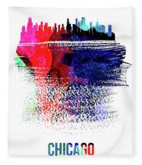 Chicago Skyline Brush Stroke Watercolor  Fleece Blanket