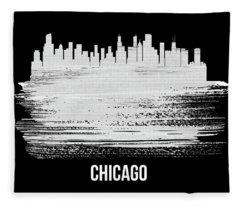 Chicago Skyline Brush Stroke White Fleece Blanket