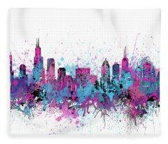 Chicago Skyline Color Splatter Fleece Blanket