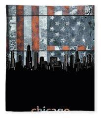 Chicago Skyline Flag 3 Fleece Blanket