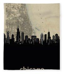 Chicago Skyline Map Fleece Blanket