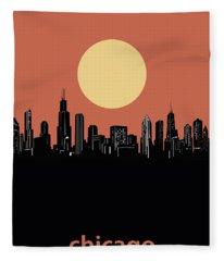 Chicago Skyline Minimalism 4 Fleece Blanket