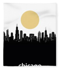 Chicago Skyline Minimalism Fleece Blanket