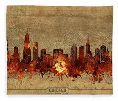 Chicago Skyline Vintage 2 Fleece Blanket